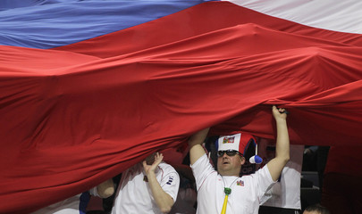 Czech fan cheers for his team during Davis Cup doubles tennis match in Prague