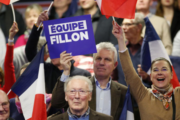 People attend the politcal rally for Francois Fillon, former French prime minister, member of The Republicans political party and 2017 presidential election candidate of the French centre-right, in Margny-les-Compiegne