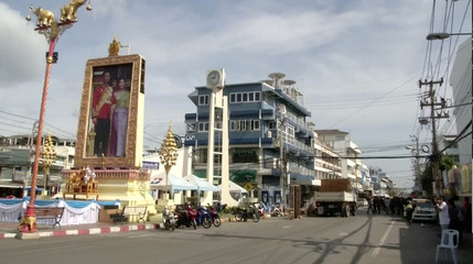 Hua Hin Clock Tower is seen near the site of a bomb blast in Hua Hin, south of Bangkok, Thailand, in this still image taken from video