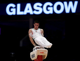 Daniel Corral of Mexico performs on the Pommel Horse during the men's qualification for the World Gymnastics Championships at the Hydro arena in Glasgow
