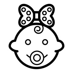 Baby girl vector icon. Black and white funny baby girl face illustration. Outline linear icon of little girl.