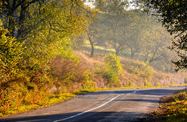 road in rural area at sunrise