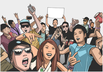 Illustration of festival crowd having fun at concert