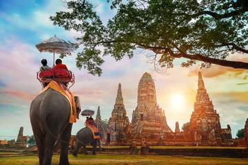 Elephant at Wat Chaiwatthanaram temple in Ayuthaya Historical Park, a UNESCO world heritage site, Thailand