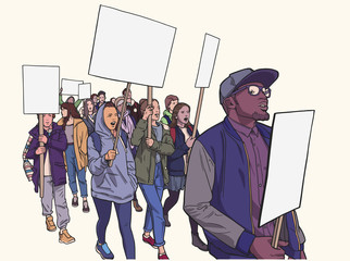Illustration of of students protesting with signs