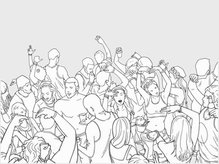 Illustration of festival crowd having fun at beach party