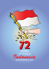 72 Years Indonesian Independence day logo Concept