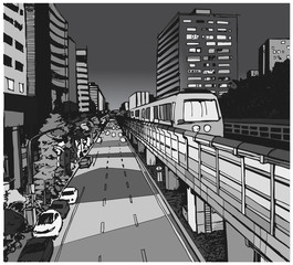 Street view illustration of urban residential area with overground metro line