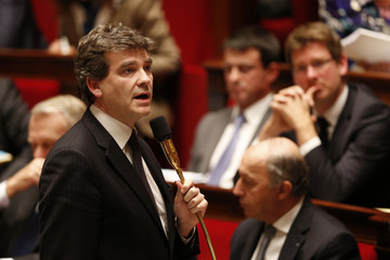 French Minister for Industrial Recovery Arnaud Montebourg speaks during the questions to the government session at the National Assembly in Paris