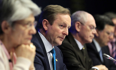 Ireland's Prime Minister Kenny speaks during a news conference following a Tripartite Social Summit at the European Union (EU) council headquarters in Brussels