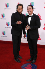 Singers Vives and J Balvin arrive at the 17th Annual Latin Grammy Awards in Las Vegas