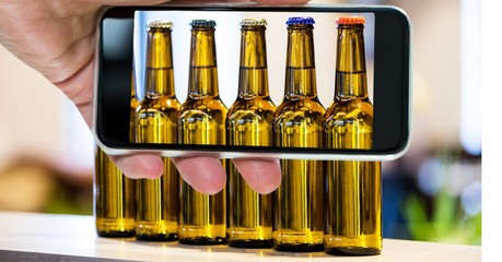 Taking picture of beer bottle through smartphone
