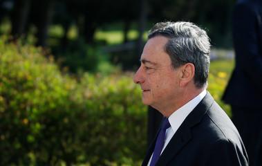 European Central Bank (ECB) President Mario Draghi arrives at the ECB Forum in Sintra