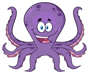 Happy Purple Octopus Cartoon Mascot Character. Illustration Isolated On White Background