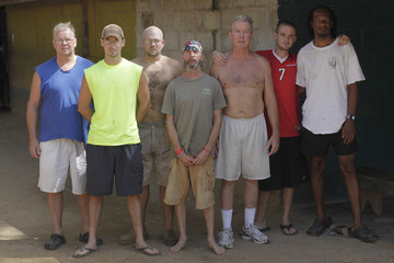 Crew members of Salvage Company Aqua Quest International Mayne, Cook, Matanich, Garrett, Captain Mayne, Butler and an inmate pose for a picture at the jail in Puerto Lempira, on the Mosquito coast of northeastern Honduras