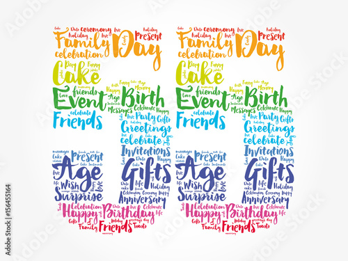 Happy 55th Birthday Word Cloud Collage Concept