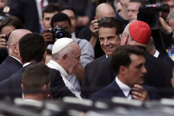 Pope Francis meets New York Gov. Andrew Cuomo in front of St. Patrick's Cathedral, in New York