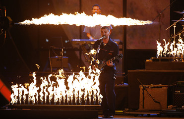 "Juanes performs ""Fuego"" at the 17th Annual Latin Grammy Awards in Las Vegas"