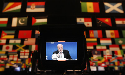 FIFA president Blatter attends a news conference during the 61st FIFA congess in Zurich