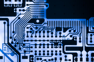 Abstract,close up of Electronic Circuits in Technology on Mainboard computer background  (logic board,cpu motherboard,Main board,system board,mobo)