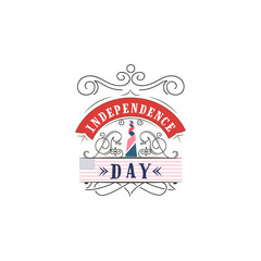 Fourth of July, United Stated independence day - Handmade template. Isolated vector object logo is a badge for your design
