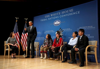 Schimmel moderates a panel discussion between Obama and young Native Americans at the annual White House Tribal Nations Conference in Washington
