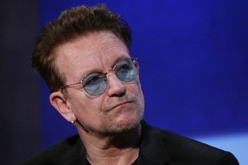 "Singer Bono sits during the plenary session ""Partnering for Global Prosperity"" at the Clinton Global Initiative 2016 (CGI) in New York"