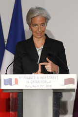 France's Economy Minister Christine Lagarde delivers a speech during the 5th Finance & Investment in Qatar Forum, in Paris