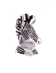 Illustration sketch vertical color portrait of a zebra in a scarf isolated on white background