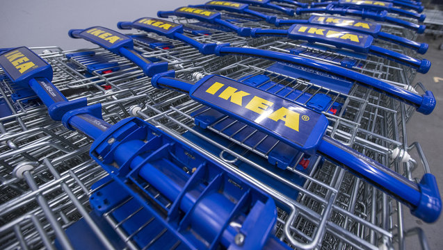 The logo of Ikea is seen on trolleys outside the Ikea Concept store, run by Inter Ikea brand and concept in Delft