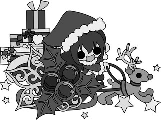 The cute illustration of Christmas and a girl -Santa Claus on the sled-