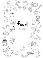 Illustration doodle food in the form of a set of contours of vegetables, fruits, berries and types of food