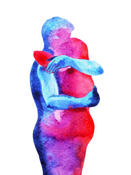 red, blue man, woman couple lover watercolor painting hand drawn with clipping path