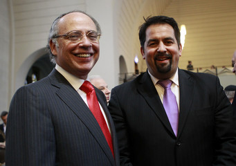 Chairman of Central Council of Muslims in Germany Mazyek and Graumann President of the Central Council of Jews in Germany attend ordination at Roonstrasse Synagogue in Cologne