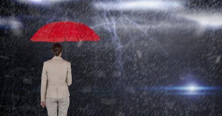 Digital composite image of businesswoman