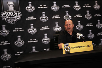 Bruins head coach Julien answers questions during a news conference after game one of the NHL Stanley Cup Finals in Chicago