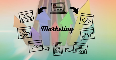 Digital composite image of marketing text - symbol
