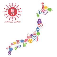 日本の夏 日本列島型のアイコンセット