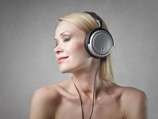 Blondie listening to music