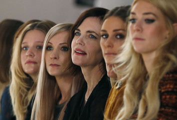 British actress Garai, British Actress Froggatt, U.S. actress McGovern, Socialite Palermo and British actress Kirby sit in the front row during the presentation of the Mulberry Spring/Summer 2013 collection at London Fashion Week