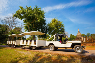 Convoy for tourist at  Si Satchanalai Historical Park, a UNESCO world heritage site in Sukhothai, Thailand