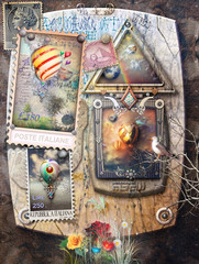 Magic travels with montgolfiers.Background with hot air balloons stamps