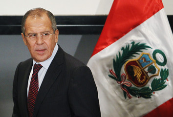 Russian Foreign Minister Lavrov leaves after the signing of a joint statement between Russia and Peru in Lima