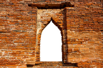 Window Frame of an Ancient Temple in Ayutthaya, Thailand