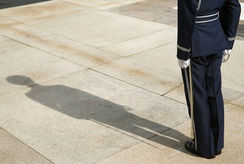 Shadow of U.S. Air Force Captain is seen at the Tomb of the Unknown Soldier at Arlington National Cemetery in Virginia