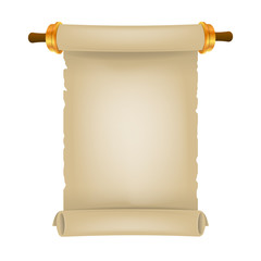Old scroll with place for text. Parchment realistic. Vintage blank paper scroll
