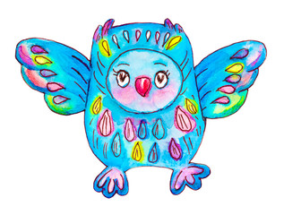 Blue owlet. Watercolor hand drawn kids illustration. Doodle style.  Isolated objects on a white background. Perfect for textile, cover design.