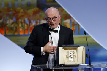 "Director Jacques Audiard, Palme d'Or award winner for his film ""Dheepan"", delivers a speech on stage during the closing ceremony of the 68th Cannes Film Festival in Cannes"