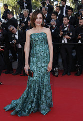 """Actress Elsa Zylberstein poses on the red carpet as she arrives for the screening of the film """"Carol"""" in competition at the 68th Cannes Film Festival in Cannes"""