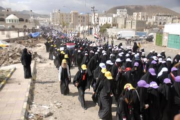 Women take part in a demonstration to demand the trial of Yemen's President Ali Abdullah Saleh, in Sanaa